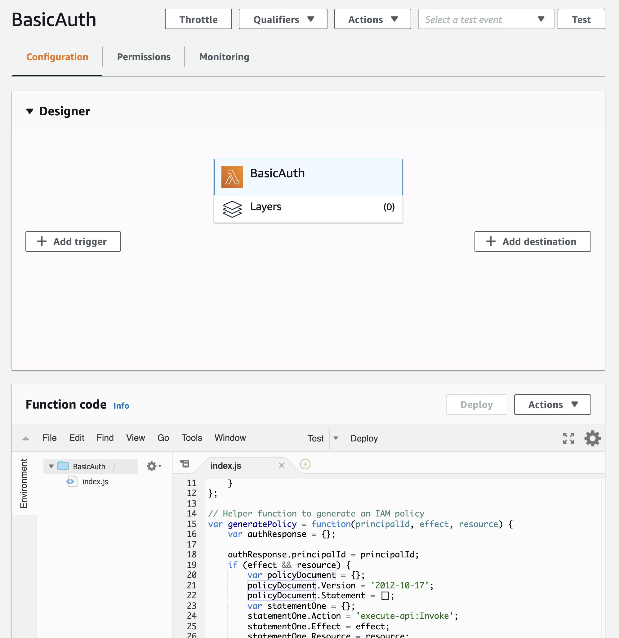 Create lambda function